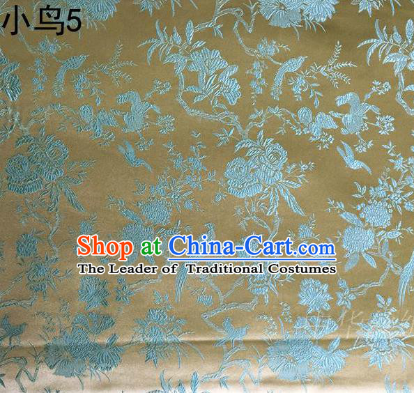 Asian Chinese Traditional Embroidery Magpie Peony Satin Golden Silk Fabric, Top Grade Brocade Tang Suit Hanfu Full Dress Fabric Cheongsam Cloth Material