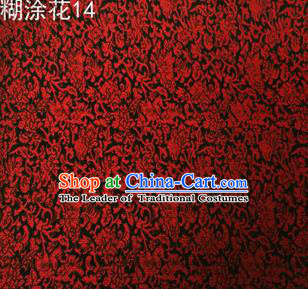 Asian Chinese Traditional Embroidering Red Flower Black Xiuhe Suit Satin Thangka Silk Fabric, Top Grade Brocade Tang Suit Hanfu Dress Fabric Cheongsam Cloth Material