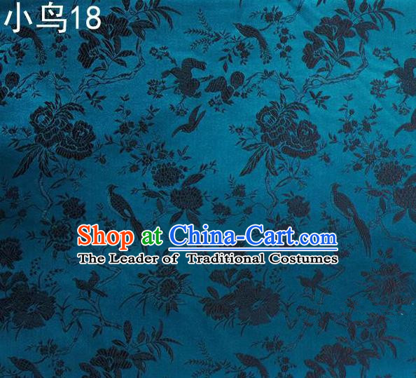 Asian Chinese Traditional Embroidery Black Magpie Peony Satin Blue Silk Fabric, Top Grade Brocade Tang Suit Hanfu Full Dress Fabric Cheongsam Cloth Material