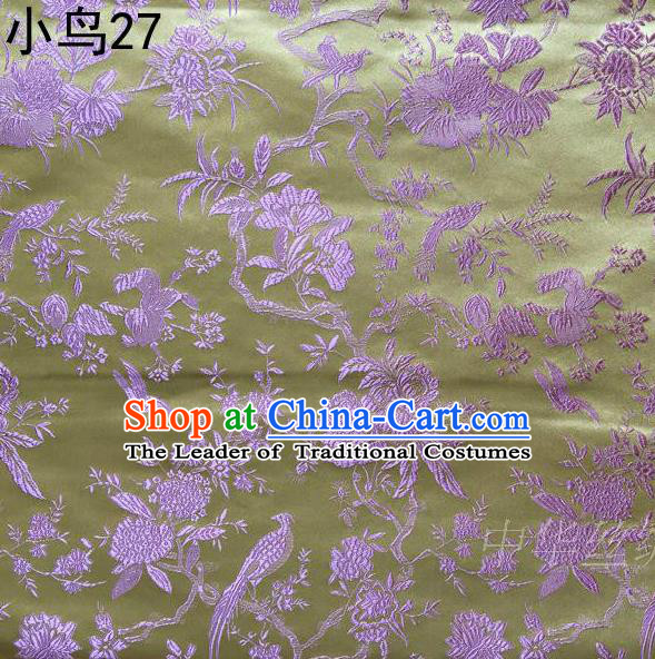Asian Chinese Traditional Embroidery Pink Magpie Peony Satin Yellow Silk Fabric, Top Grade Brocade Tang Suit Hanfu Full Dress Fabric Cheongsam Cloth Material