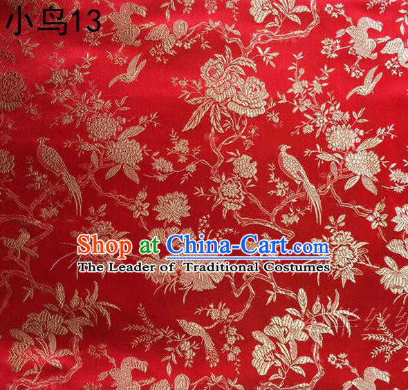 Asian Chinese Traditional Embroidery Golden Magpie Peony Satin Red Silk Fabric, Top Grade Brocade Tang Suit Hanfu Full Dress Fabric Cheongsam Cloth Material