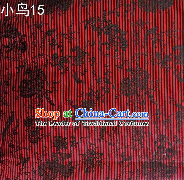 Asian Chinese Traditional Embroidery Magpie Peony Satin Red Silk Fabric, Top Grade Brocade Tang Suit Hanfu Full Dress Fabric Cheongsam Cloth Material