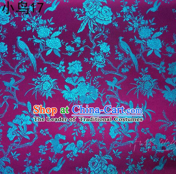 Asian Chinese Traditional Embroidery Blue Magpie Peony Satin Rosy Silk Fabric, Top Grade Brocade Tang Suit Hanfu Full Dress Fabric Cheongsam Cloth Material