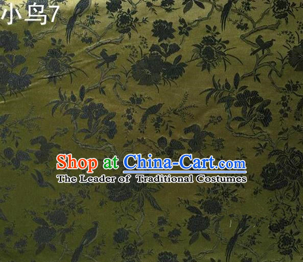 Asian Chinese Traditional Embroidery Magpie Peony Satin Olive Green Silk Fabric, Top Grade Brocade Tang Suit Hanfu Full Dress Fabric Cheongsam Cloth Material