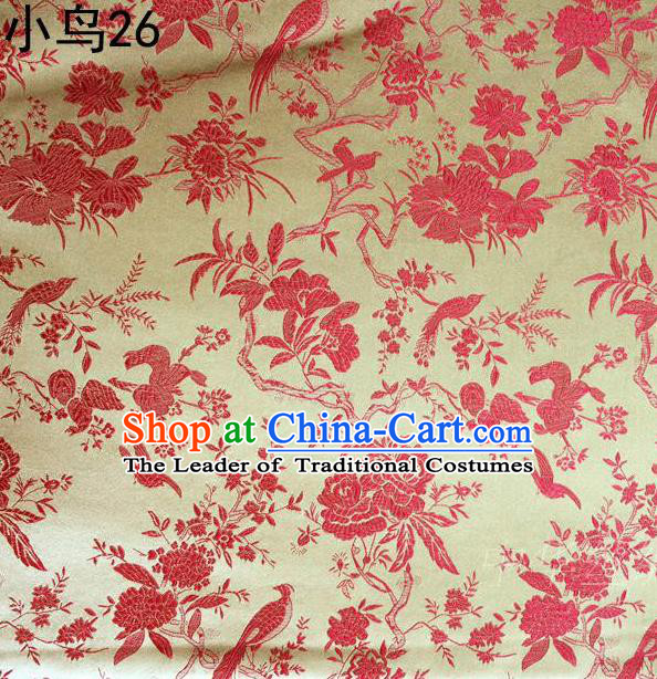 Asian Chinese Traditional Embroidery Red Magpie Peony Satin Golden Silk Fabric, Top Grade Brocade Tang Suit Hanfu Full Dress Fabric Cheongsam Cloth Material