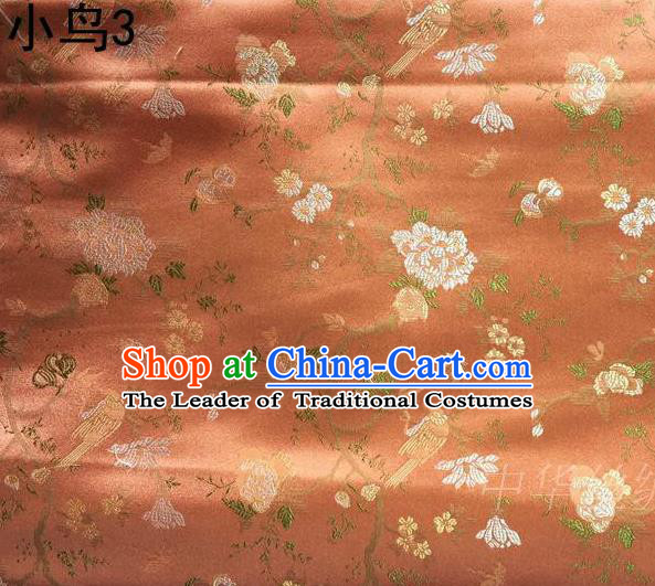 Asian Chinese Traditional Embroidery Magpie Peony Satin Orange Silk Fabric, Top Grade Brocade Tang Suit Hanfu Full Dress Fabric Cheongsam Cloth Material