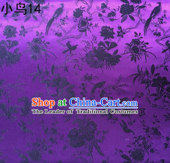 Asian Chinese Traditional Embroidery Magpie Peony Satin Purple Silk Fabric, Top Grade Brocade Tang Suit Hanfu Full Dress Fabric Cheongsam Cloth Material