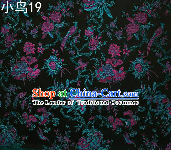 Asian Chinese Traditional Embroidery Magpie Peony Satin Atrovirens Silk Fabric, Top Grade Brocade Tang Suit Hanfu Full Dress Fabric Cheongsam Cloth Material