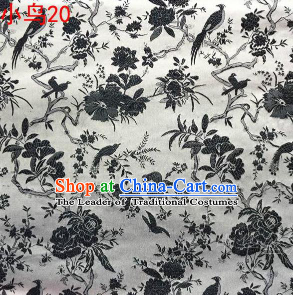 Asian Chinese Traditional Embroidery Black Magpie Peony Satin White Silk Fabric, Top Grade Brocade Tang Suit Hanfu Full Dress Fabric Cheongsam Cloth Material