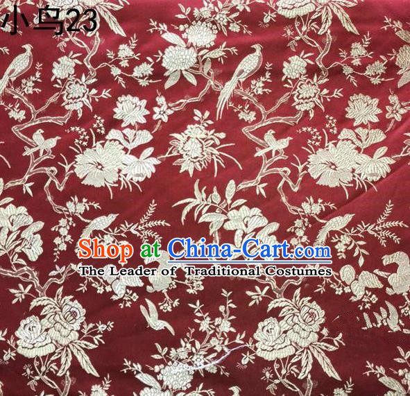 Asian Chinese Traditional Embroidery Golden Magpie Peony Satin Wine Red Silk Fabric, Top Grade Brocade Tang Suit Hanfu Full Dress Fabric Cheongsam Cloth Material