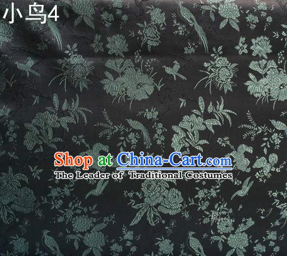 Asian Chinese Traditional Embroidery Magpie Peony Satin Black Silk Fabric, Top Grade Brocade Tang Suit Hanfu Full Dress Fabric Cheongsam Cloth Material
