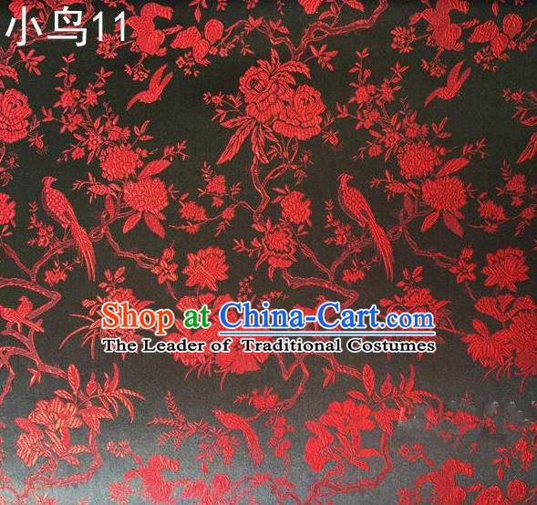 Asian Chinese Traditional Embroidery Red Magpie Peony Satin Black Silk Fabric, Top Grade Brocade Tang Suit Hanfu Full Dress Fabric Cheongsam Cloth Material