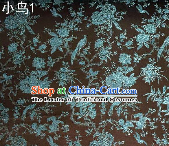 Asian Chinese Traditional Embroidery Magpie Peony Satin Coffee Silk Fabric, Top Grade Brocade Tang Suit Hanfu Full Dress Fabric Cheongsam Cloth Material