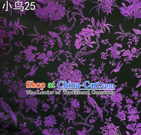 Asian Chinese Traditional Embroidery Purple Magpie Peony Satin Black Silk Fabric, Top Grade Brocade Tang Suit Hanfu Full Dress Fabric Cheongsam Cloth Material