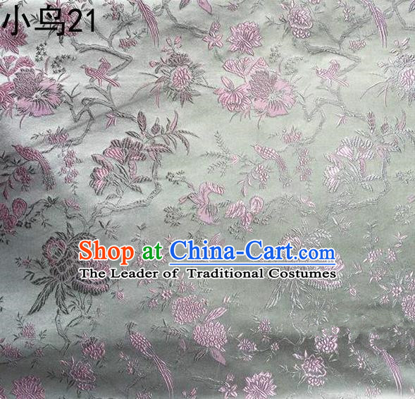 Asian Chinese Traditional Embroidery Pink Magpie Peony Satin Sliver Silk Fabric, Top Grade Brocade Tang Suit Hanfu Full Dress Fabric Cheongsam Cloth Material