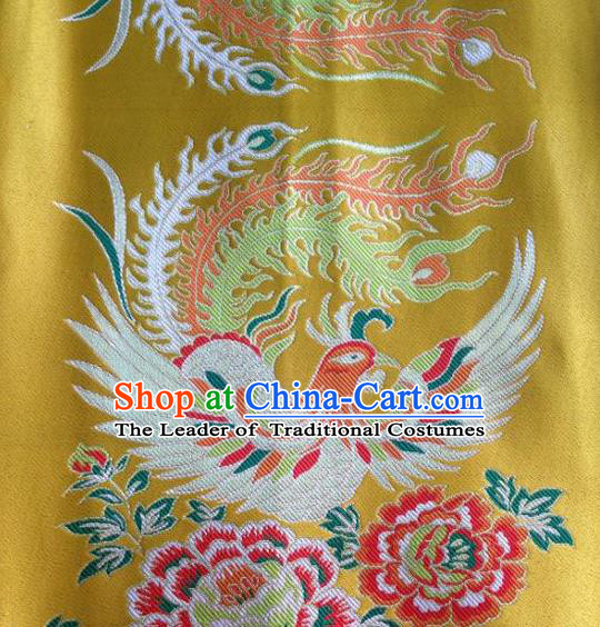 Asian Chinese Traditional Embroidery Phoenix Peony Yellow Satin Wedding Silk Fabric, Top Grade Brocade Tang Suit Hanfu Full Dress Fabric Cheongsam Cloth Material