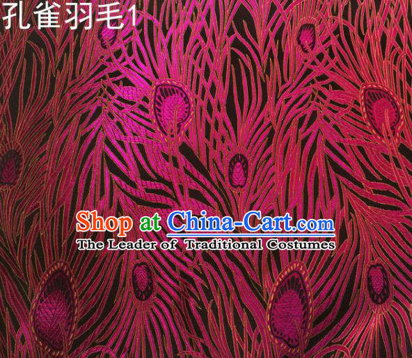 Asian Chinese Traditional Embroidery Peacock Feathers Rosy Satin Wedding Silk Fabric, Top Grade Brocade Tang Suit Hanfu Dress Fabric Cheongsam Cloth Material