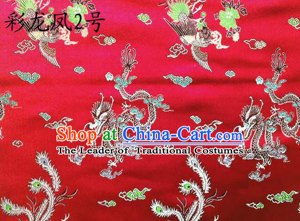 Asian Chinese Traditional Embroidery Colorful Dragon and Phoenix Bringing Prosperity Red Satin Silk Fabric, Top Grade Tibetan Brocade Tang Suit Hanfu Fabric Cheongsam Cloth Material