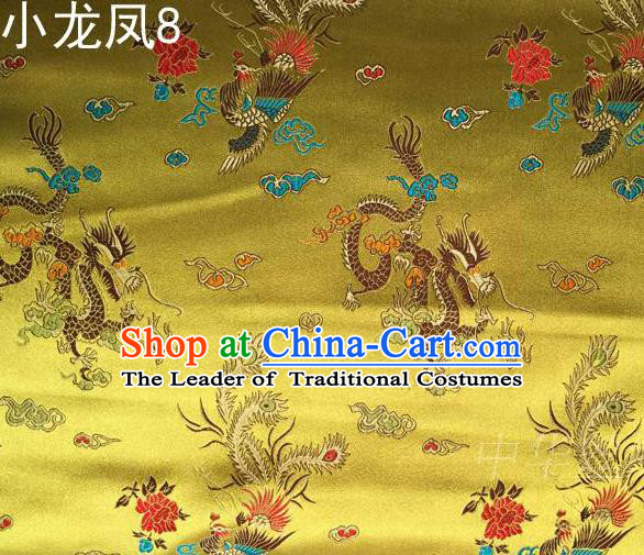 Asian Chinese Traditional Embroidery Colorful Dragon and Phoenix Bringing Prosperity Golden Satin Silk Fabric, Top Grade Tibetan Brocade Tang Suit Hanfu Fabric Cheongsam Cloth Material