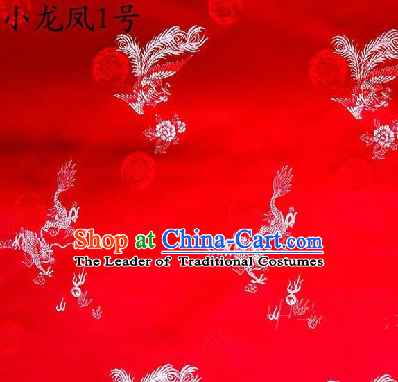 Asian Chinese Traditional Embroidery Dragon and Phoenix Bringing Prosperity Red Satin Silk Fabric, Top Grade Tibetan Brocade Tang Suit Hanfu Fabric Cheongsam Cloth Material