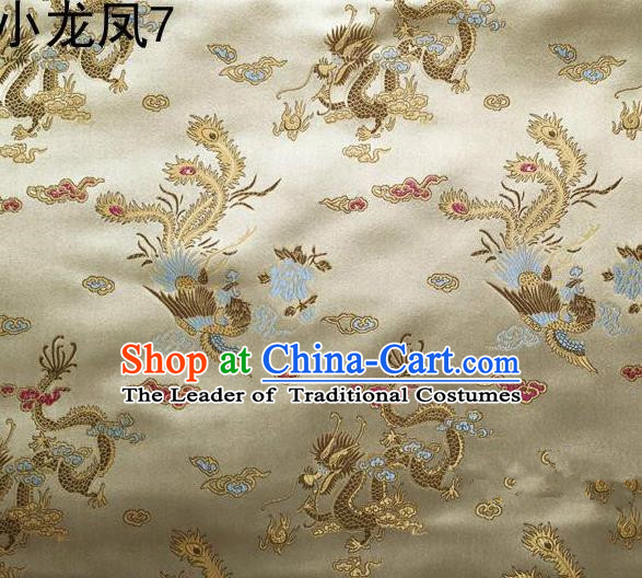 Asian Chinese Traditional Embroidery Dragon and Phoenix Bringing Prosperity Golden Satin Silk Fabric, Top Grade Tibetan Brocade Tang Suit Hanfu Fabric Cheongsam Cloth Material