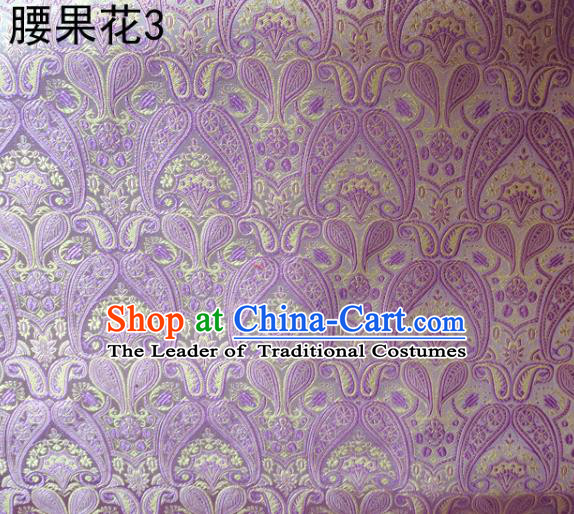 Asian Chinese Traditional Embroidery Paisley Lilac Satin Wedding Silk Fabric, Top Grade Tibetan Brocade Tang Suit Hanfu Dress Fabric Cheongsam Cloth Material