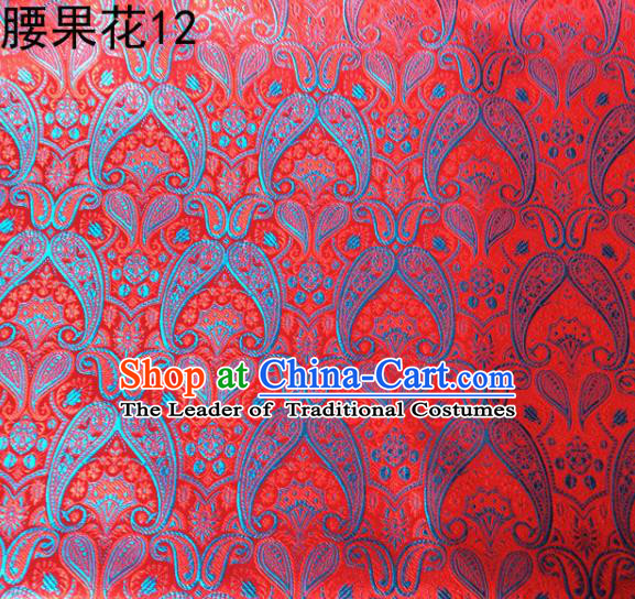 Asian Chinese Traditional Embroidery Paisley Red Satin Wedding Silk Fabric, Top Grade Tibetan Brocade Tang Suit Hanfu Dress Fabric Cheongsam Cloth Material