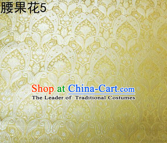 Asian Chinese Traditional Embroidery Paisley Golden Satin Wedding Silk Fabric, Top Grade Tibetan Brocade Tang Suit Hanfu Dress Fabric Cheongsam Cloth Material