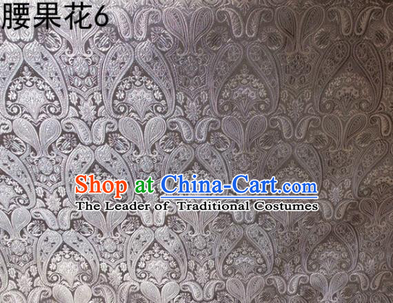 Asian Chinese Traditional Embroidery Paisley Grey Satin Wedding Silk Fabric, Top Grade Tibetan Brocade Tang Suit Hanfu Dress Fabric Cheongsam Cloth Material