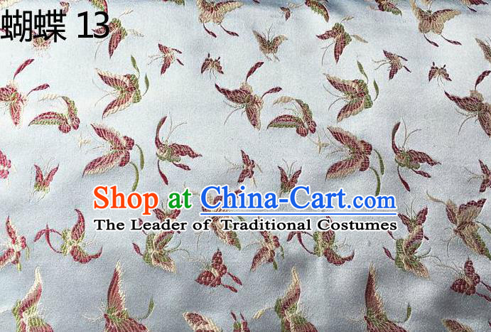 Asian Chinese Traditional Embroidery Butterflies Sliver Satin Silk Fabric, Top Grade Brocade Tang Suit Hanfu Fabric Cheongsam Cloth Material