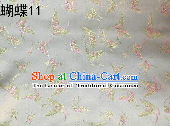 Asian Chinese Traditional Embroidery Butterflies White Satin Silk Fabric, Top Grade Brocade Tang Suit Hanfu Fabric Cheongsam Cloth Material