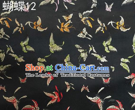 Asian Chinese Traditional Embroidery Butterflies Black Satin Silk Fabric, Top Grade Brocade Tang Suit Hanfu Fabric Cheongsam Cloth Material