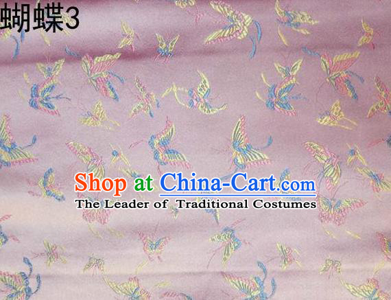 Asian Chinese Traditional Embroidery Colorful Butterflies Pink Satin Silk Fabric, Top Grade Brocade Tang Suit Hanfu Fabric Cheongsam Cloth Material