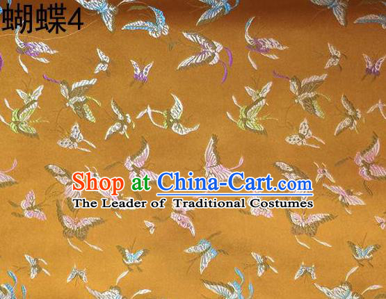 Asian Chinese Traditional Embroidery Colorful Butterflies Yellow Satin Silk Fabric, Top Grade Brocade Tang Suit Hanfu Fabric Cheongsam Cloth Material