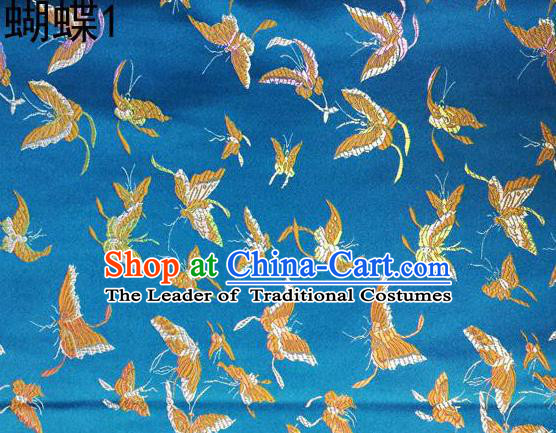 Asian Chinese Traditional Embroidery Colorful Butterflies Blue Satin Silk Fabric, Top Grade Brocade Tang Suit Hanfu Fabric Cheongsam Cloth Material