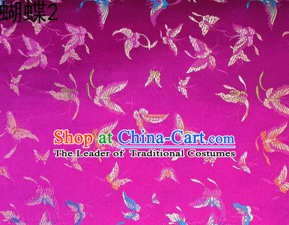 Asian Chinese Traditional Embroidery Colorful Butterflies Rosy Satin Silk Fabric, Top Grade Brocade Tang Suit Hanfu Fabric Cheongsam Cloth Material