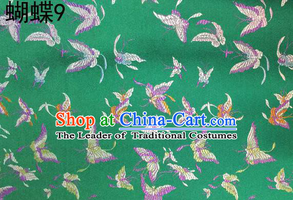 Asian Chinese Traditional Embroidery Colorful Butterflies Green Satin Silk Fabric, Top Grade Brocade Tang Suit Hanfu Fabric Cheongsam Cloth Material