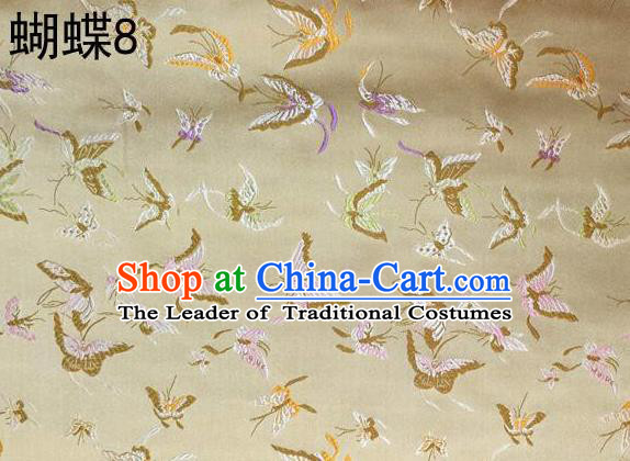 Asian Chinese Traditional Embroidery Colorful Butterflies Golden Satin Silk Fabric, Top Grade Brocade Tang Suit Hanfu Fabric Cheongsam Cloth Material