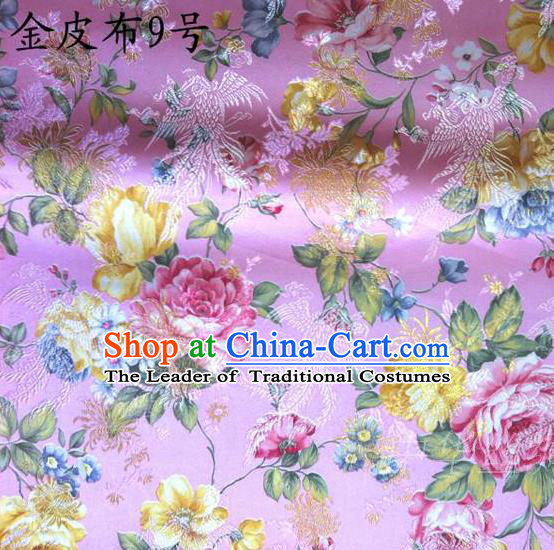 Asian Chinese Traditional Embroidery Peony Pink Satin Silk Fabric, Top Grade Brocade Tang Suit Hanfu Fabric Cheongsam Cloth Material