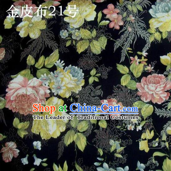 Asian Chinese Traditional Embroidery Peony Black Satin Silk Fabric, Top Grade Brocade Tang Suit Hanfu Fabric Cheongsam Cloth Material