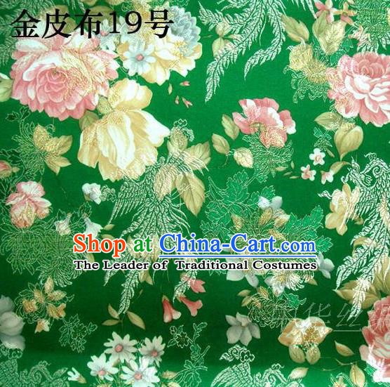 Asian Chinese Traditional Embroidery Peony Green Satin Silk Fabric, Top Grade Brocade Tang Suit Hanfu Fabric Cheongsam Cloth Material