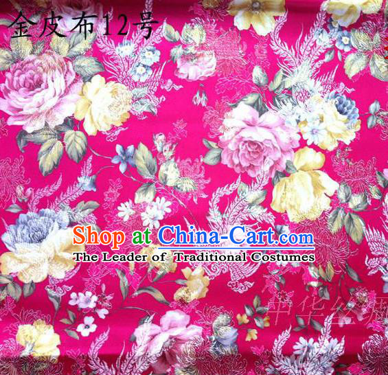 Asian Chinese Traditional Embroidery Peony Rosy Satin Silk Fabric, Top Grade Brocade Tang Suit Hanfu Fabric Cheongsam Cloth Material