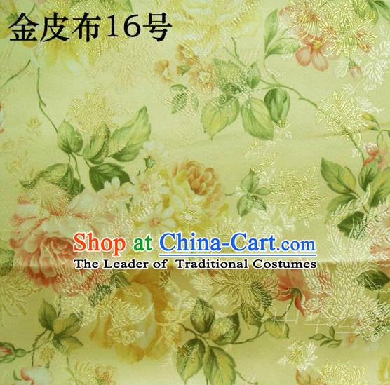 Asian Chinese Traditional Embroidery Peony Golden Satin Silk Fabric, Top Grade Brocade Tang Suit Hanfu Fabric Cheongsam Cloth Material