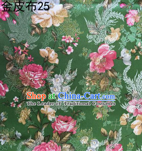 Asian Chinese Traditional Embroidery Peony Deep Green Satin Silk Fabric, Top Grade Brocade Tang Suit Hanfu Fabric Cheongsam Cloth Material