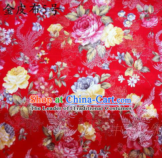 Asian Chinese Traditional Embroidery Peony Red Satin Silk Fabric, Top Grade Brocade Tang Suit Hanfu Fabric Cheongsam Cloth Material
