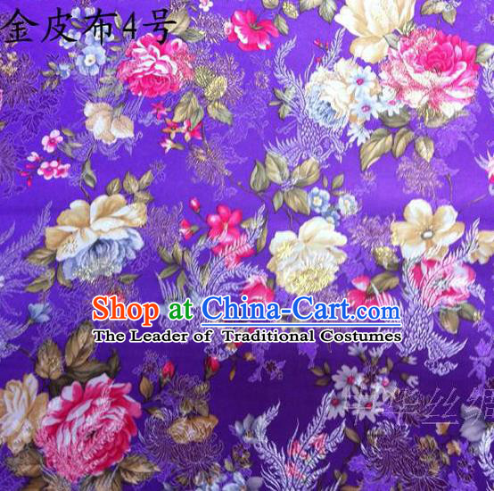 Asian Chinese Traditional Embroidery Peony Purple Satin Silk Fabric, Top Grade Brocade Tang Suit Hanfu Fabric Cheongsam Cloth Material