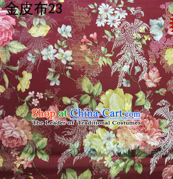 Asian Chinese Traditional Embroidery Peony Dark Red Satin Silk Fabric, Top Grade Brocade Tang Suit Hanfu Fabric Cheongsam Cloth Material