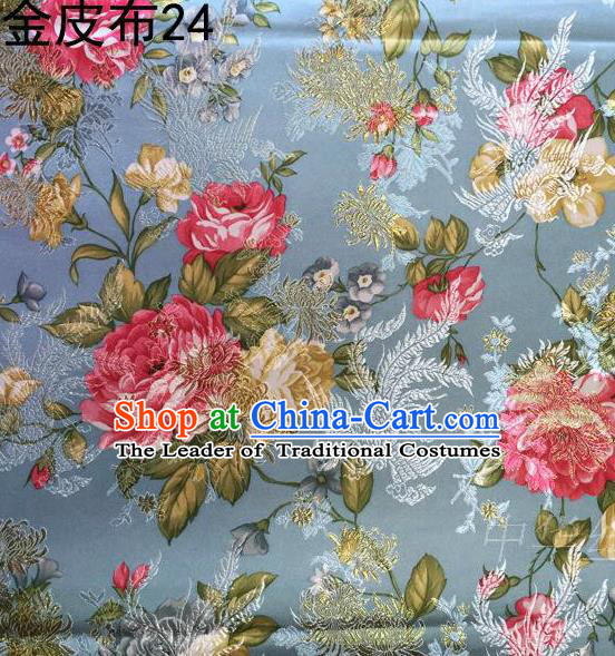 Asian Chinese Traditional Embroidery Peony Grey Blue Satin Silk Fabric, Top Grade Brocade Tang Suit Hanfu Fabric Cheongsam Cloth Material