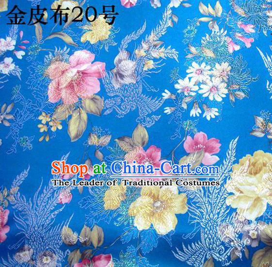 Asian Chinese Traditional Embroidery Peony Blue Satin Silk Fabric, Top Grade Brocade Tang Suit Hanfu Fabric Cheongsam Cloth Material