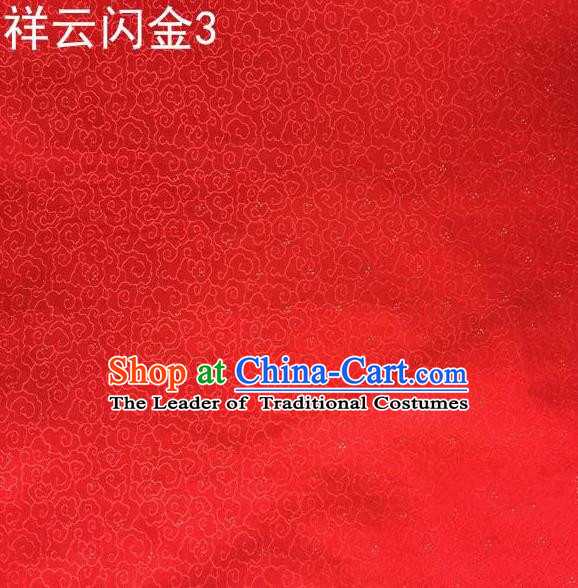 Asian Chinese Traditional Embroidery Gold Thread Red Satin Silk Fabric, Top Grade Brocade Tang Suit Hanfu Fabric Cheongsam Cloth Material